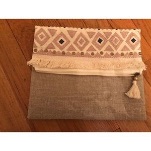 Canvas Clutch with Embroidered Stitching